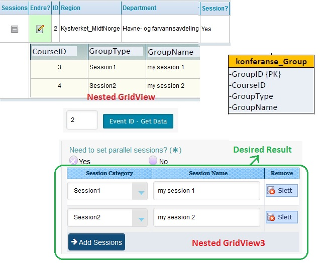 Display nested GridView on Button click of main GridView